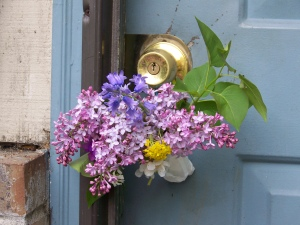 flowers on doorknob
